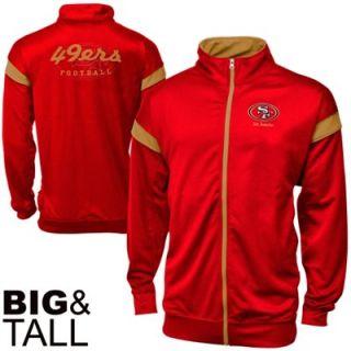 San Francisco 49ers Big & Tall Full Zip Track Jacket   Scarlet/Gold