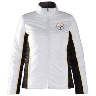 Pittsburgh Steelers Ladies Touchdown Full Zip Jacket   White/Black
