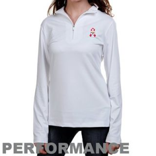 Cutter & Buck Pittsburgh Steelers Ladies White Breast Cancer Awareness Choice Performance Half Zip Long Sleeve Top