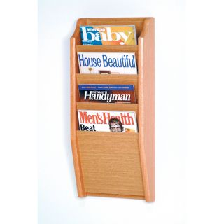 Wooden Mallet 4 Pocket Wood Wall Magazine Rack   Commercial Magazine Racks