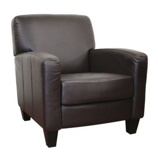 Baxton Studio Stacie Brown Leather Modern Club Chair   Leather Club Chairs