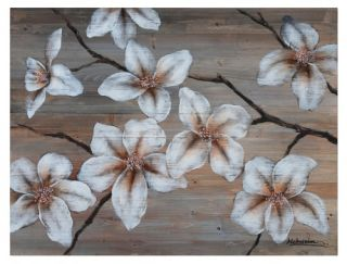 Yosemite Home Decor Wooden Blossom I Wall Art   40W x 30H in.   Hand Painted Art