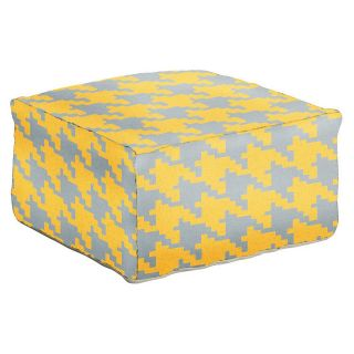 Surya 24 in. Houndstooth Square Wool Pouf   Ottomans
