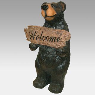 Bear Welcome Sign Statue   Garden Statues