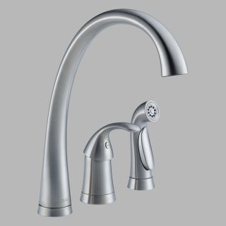 Delta Pilar 4380 DST Single Handle Kitchen Faucet with Side Spray   Kitchen Faucets