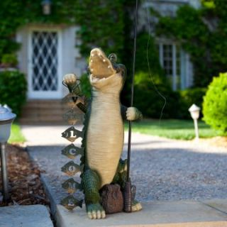 Alligator with Welcome Sign Statue   Garden Statues