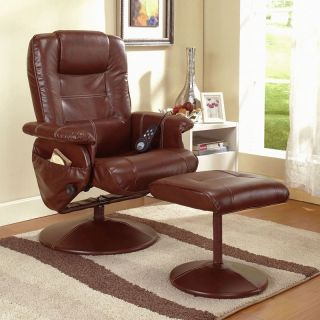 InRoom Designs Leather Massage Recliner with Ottoman   Recliners