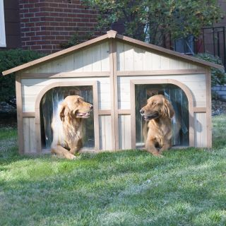 Merry Products Duplex Wood Dog House   Dog Houses