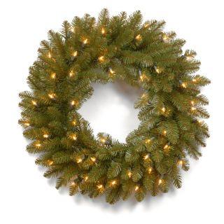 24 in. Dunhill Fir Pre Lit Christmas Wreath   Christmas Wreaths