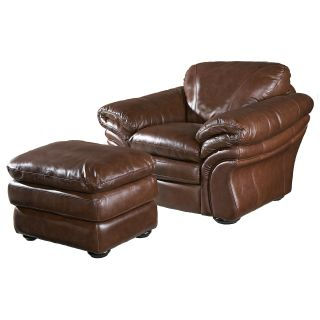 Leather Italia USA Jensen Venus Brandy Leather Chair   Leather Club Chairs