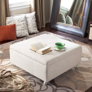 Corbett Linen Coffee Table Storage Ottoman   Ottomans