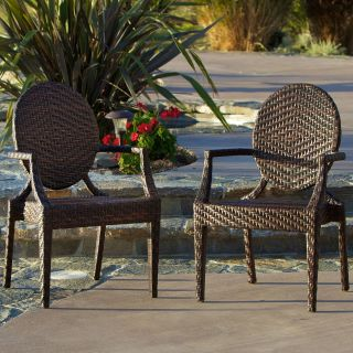 Adriana All Weather Wicker Dining Chair   Set of 2   Outdoor Dining Chairs