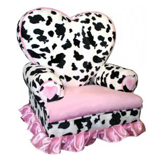 Harmony Kids Princess Heart Chair Minky   Cow   Kids Arm Chairs