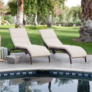 Bellagio Wicker Chaise Lounge with Cushion   Set of 2   Outdoor Chaise Lounges