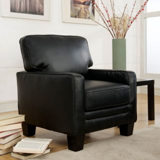 Serta Santa Rosa Collection Eco friendly Bonded Leather Track Arm Accent Chair   Smooth Black   Leather Club Chairs