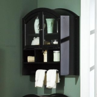 Arch Top Wall Cabinet Black   Floor Cabinets and Racks
