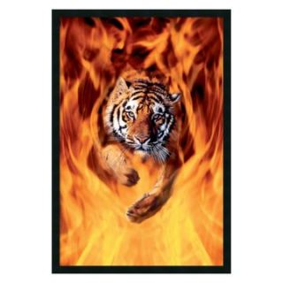 Bengal Tiger Jumping In Flames Framed Wall Art   25.41W x 37.41H in.   Photography