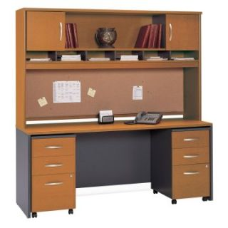 Bush Series C 72 Inch Credenza with 2 Door Hutch and Mobile File In Natural Cherry   Computer Desks