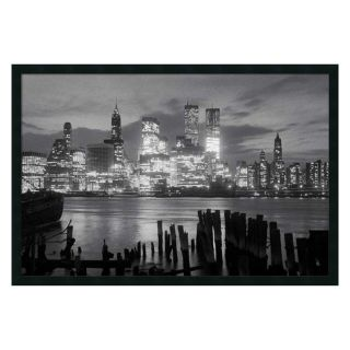 Manhattan Night Framed Wall Art   37.41W x 25.41H in.   Framed Wall Art