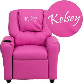 Flash Furniture Personalized Vinyl Kids Recliner with Cup Holder and Headrest   Hot Pink   Kids Recliners