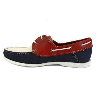 Tommy Hilfiger Chino 3A Mens Laced Leather Boat Shoes Navy Red   46 Schuhe & Handtaschen