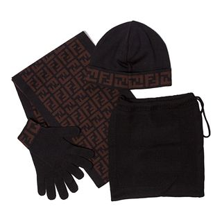 Fendi Black Zucca Print Hat, Gloves and Scarf Set Fendi Designer Scarves & Wraps