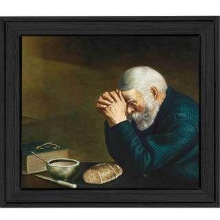 Art Decour 'Old Man Praying' Framed Wall Art Framed Art