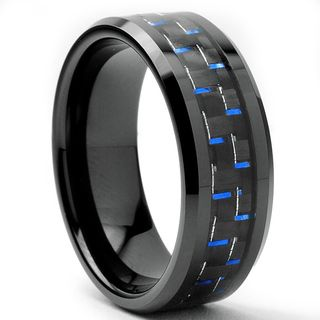 Tungsten Carbide Men's Black and Blue Carbon Fiber Inlay Ring (8 mm) Men's Rings