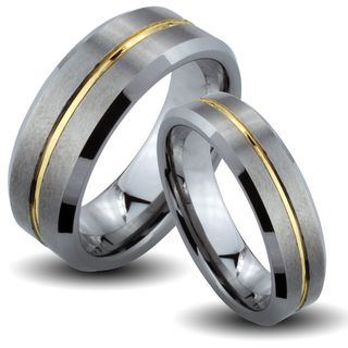 Tungsten Carbide Two tone Goldplated Center Groove His and Her Wedding Band Set Men's Rings