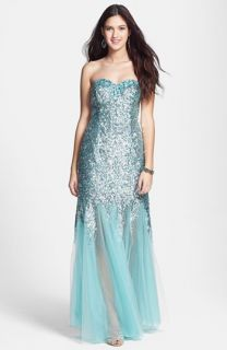 Sean Collection Sequin & Tulle Strapless Gown