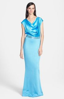 St. John Collection Sateen Milano Knit Gown with Liquid Satin Bodice