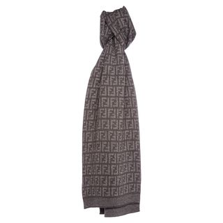 Fendi Zucca All Over Me Wool Scarf in Brown and Grey Fendi Designer Scarves & Wraps