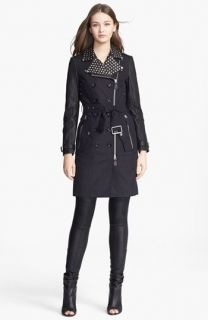 Burberry Brit Callowsby Leather Sleeve Trench Coat
