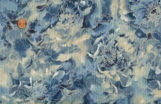 Robert Kaufman 'Imperial Collection 8' Misty Floral on Blue Cotton Fabric By the Yard