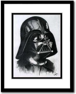 "Darth Vader from Star War Sketch Portrait, Charcoal Graphite Pencil Drawing Poster   16"" x 20"" Framed Print (WU195)"