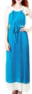 Ya Los Angeles Gorgeous Blue and Cream Colorblocked and Pleated Dress   Small: Clothing