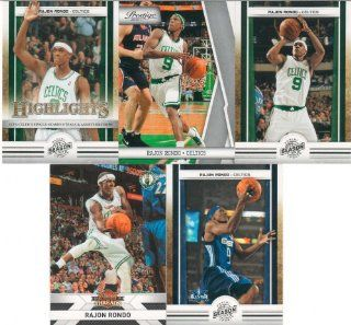 Rajon Rondo 5 Card Gift Lot Containing One Each of His 2010 2011 Panini Season Update Card #5, #21 and #185 Plus His 2010 2011 Panini Threads and Prestige Mint Condition Boston Celtics Cards. Nice Mix Picturing Him in His White Boston Celtics Jerseys and H