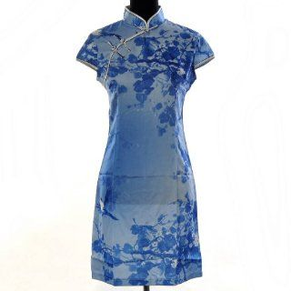 Shanghai Tone� Chinese Girls Bird Singing Woods Elastic Silk Cotton Mandarin Gown Cheongsam Chipao Qipao Wedding Party Cocktail Blue Available Sizes: 0, 2, 4, 6, 8, 10,12: Toys & Games