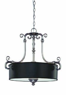 Savoy House Lighting 7 5683 3 187 Mont La Ville 3 Light Drum Shade Pendant, Brushed Pewter with Black Shade: Home Improvement