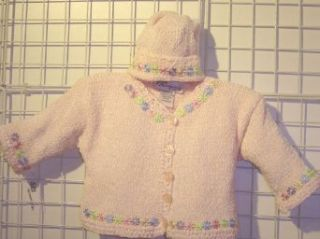 Knitted Infant Girls Baby Pink Chenille Sweater Hat with Satin Daisy Ribbons: Clothing