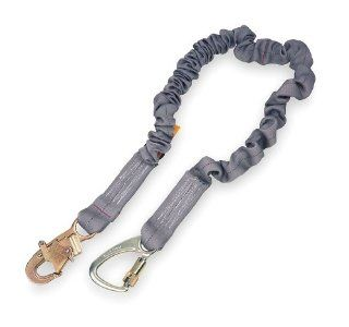 DBI SALA, ShockWave2 1244650 Tie Back Shock Absorbing Lanyard, 6 Foot Single Leg, Elastic Web, Snap Hook At One End, Tie Back Carabiner At Other End, Grey   Fall Arrest Restraint Ropes And Lanyards