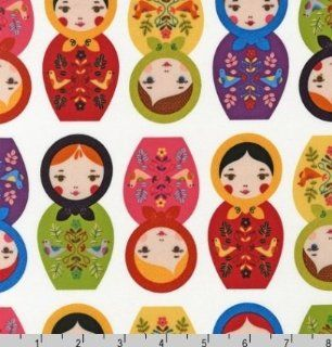 Little Kukla Nesting Dolls on White Fabric Two Yards (1.8m) ASD 12817 195 Bright: Arts, Crafts & Sewing