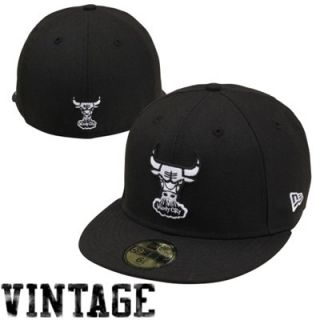 New Era Chicago Bulls 59FIFTY Fashion Fitted Hat   Black/White