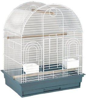 Blue Ribbon Arch Style Plypen Roof Bird Cage, 24 Inch by 18 Inch by 29 Inch, White/ Teal: Pet Supplies