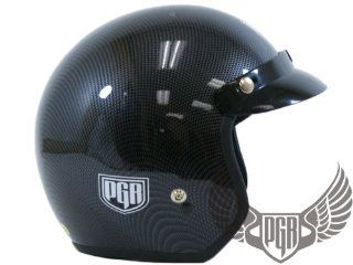 PGR 205 Retro Vintage Bobber Motorcycle Helmet DOT Approved (X Large, Carbon Fiber Print): Automotive