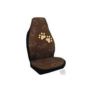Dog Doggie Puppy Paw Prints Seat Covers, Brown Color (Pair) Automotive