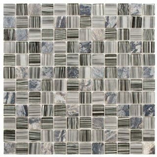 Chroma Square Licorice 11 1/2 x 11 1/2 Inch Glass and Stone Mosaic Wall Tile (10 Pcs/9.2 Sq. Ft. Per Case, $1 Standard Shipping)   Somertile