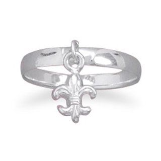 925 Sterling Silver Small Fleur  de  Lis Charm Ring: West Coast Jewelry: Jewelry