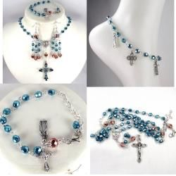 Turquiose and Copper Crystal Catholic Wedding Jewelry Set Jewelry Sets