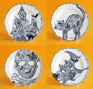 "222 Fifth Halloween ""Wiccan Lace"" Snack Party Appetizer Plates 6"" Black & White Porcelain, Set of 4 Designs: Cat, Haunted House, Skull, Witch: Kitchen & Dining"